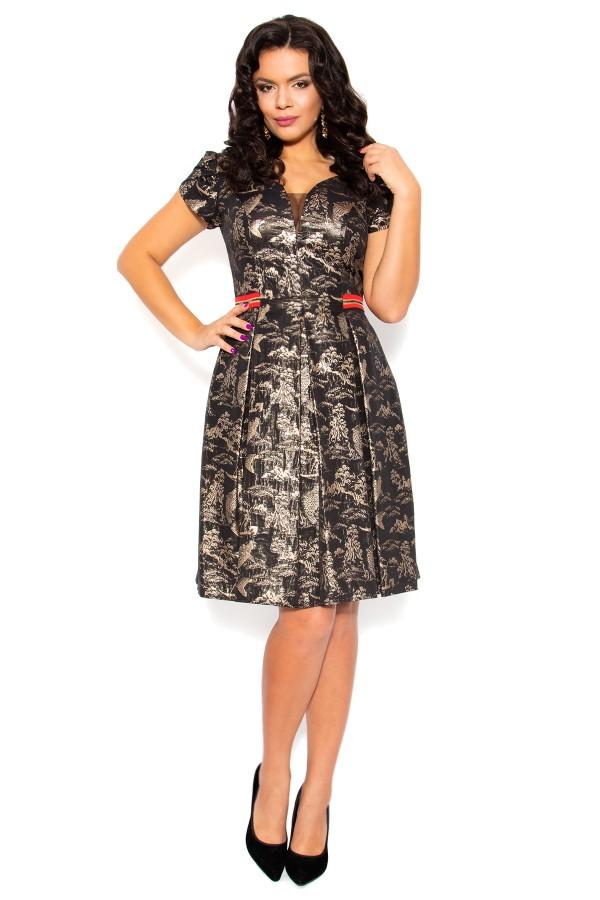 Rochie eleganta R 170 negru-auriu