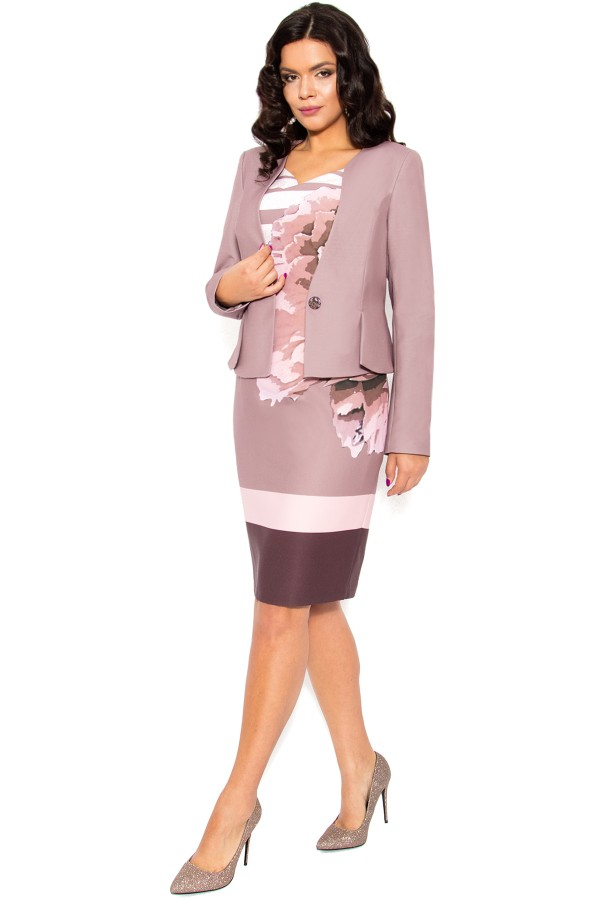 Costum cu rochie 9386 roz