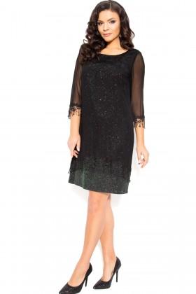 Rochie eleganta R 207 negru-verde