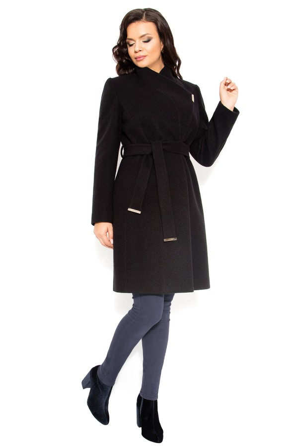 Mantou din stofa cu lana 7253 negru