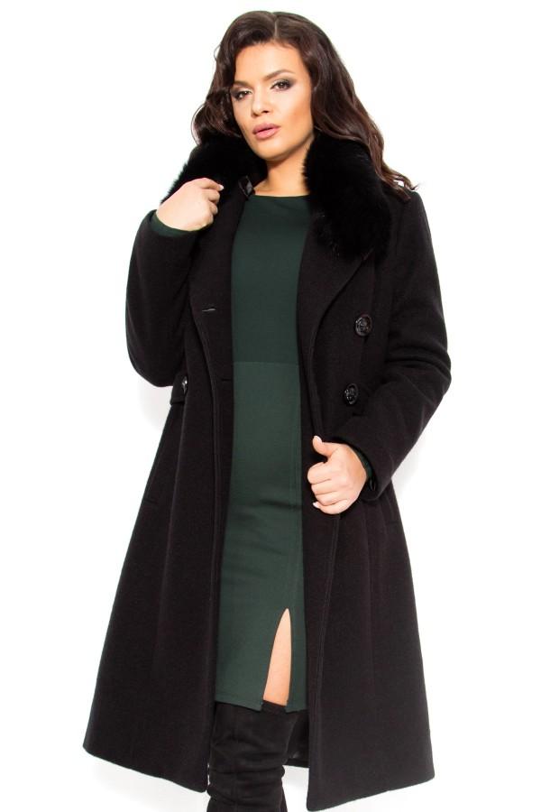 Palton lung din stofa cu lana 7254 negru