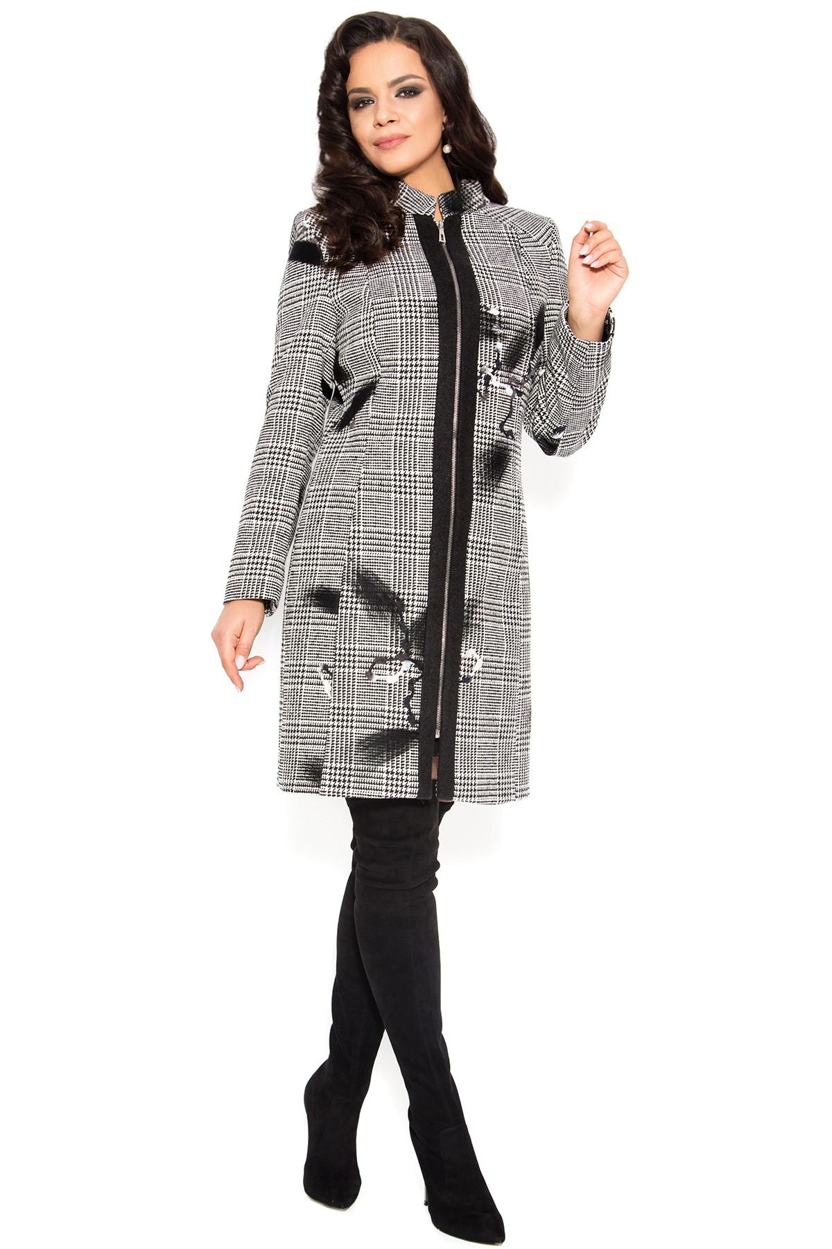 design divers vânzare magazin de vânzare cel mai bun Palton din stofa 7250 carouri gri cu flori negre - Viada