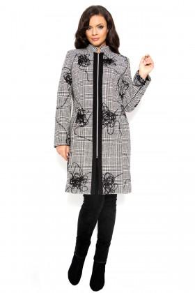 Palton din stofa 7250 carouri gri cu model abstract