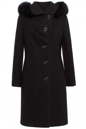 Palton din stofa 7258 negru