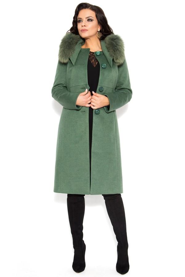 Palton lung 7225 kaki cu blana naturala