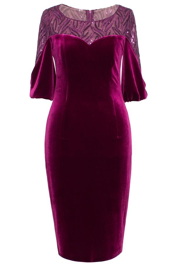 Rochie eleganta din catifea R 228 mov