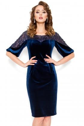 Rochie eleganta din catifea R 228 bleumarin
