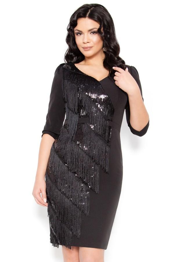 Rochie eleganta cu franjuri R 227 negru