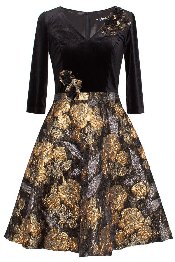 Rochie eleganta R 246 negru-auriu