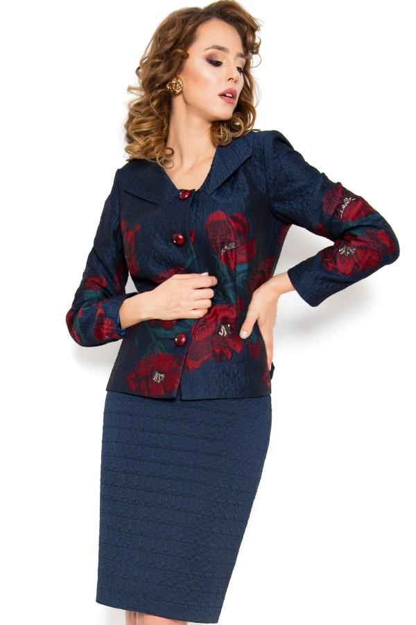 Costum cu fusta 1459 rosu-bleumarin