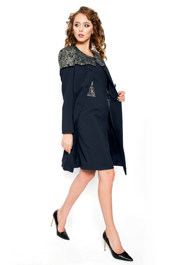Costum cu rochie 7715 bleumarin