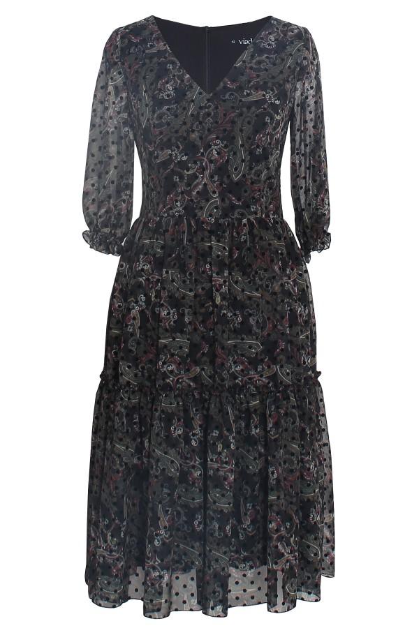 Rochie casual R 296 negru imprimat