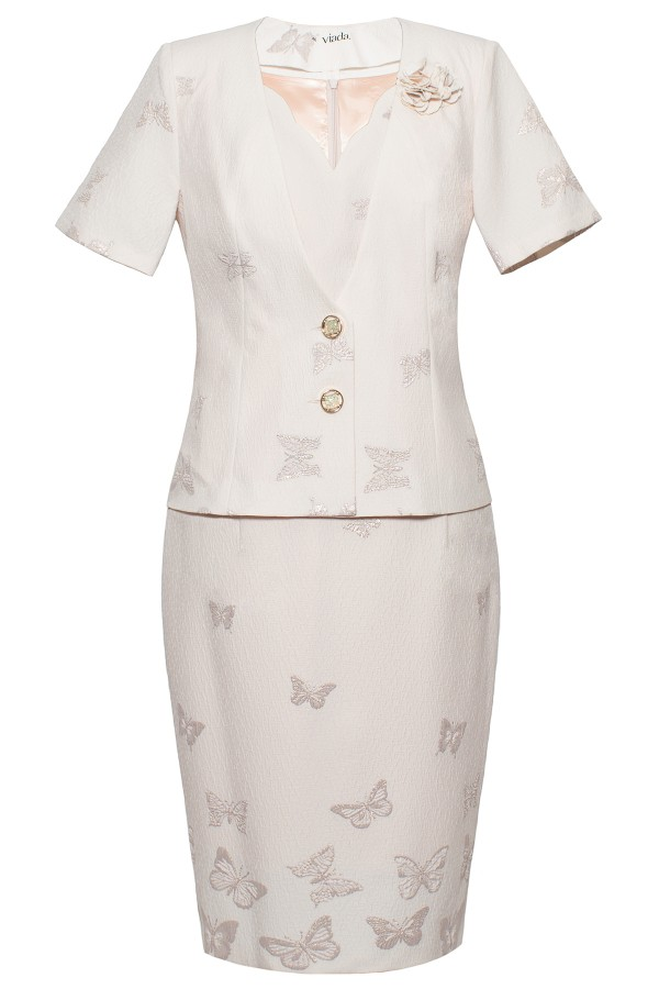 Costum cu rochie 9377 fluturi roz
