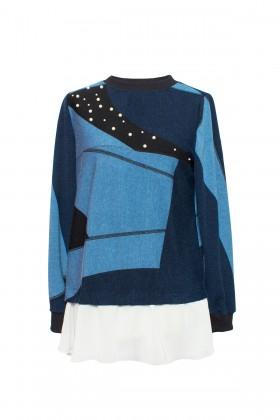 Bluza casual B 149 bleumarin