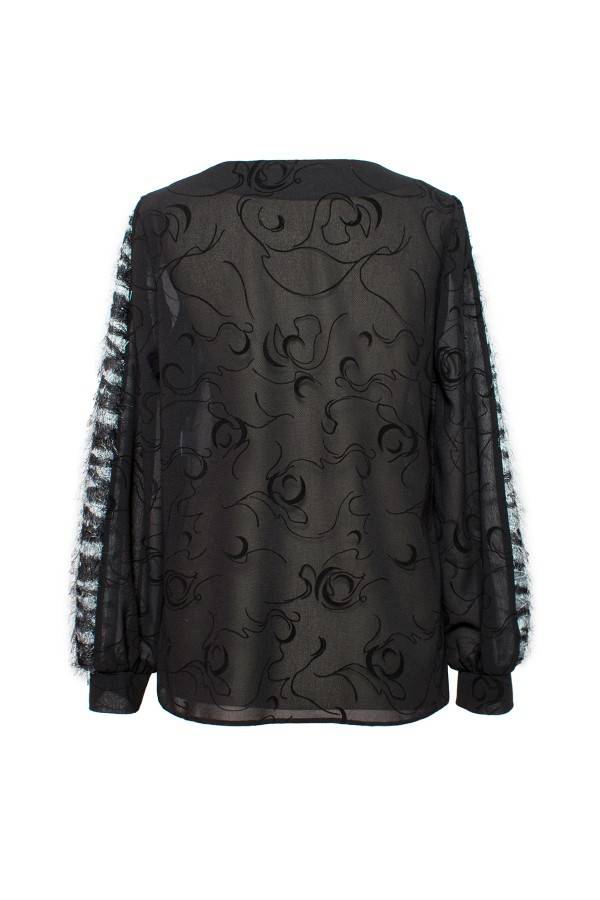 Bluza casual B 162 negru decorativ