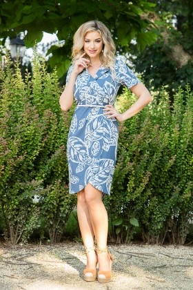 Rochie casual din in R 447 albastru