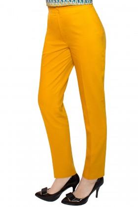 Pantalon casual din in P 130 galben-mustar