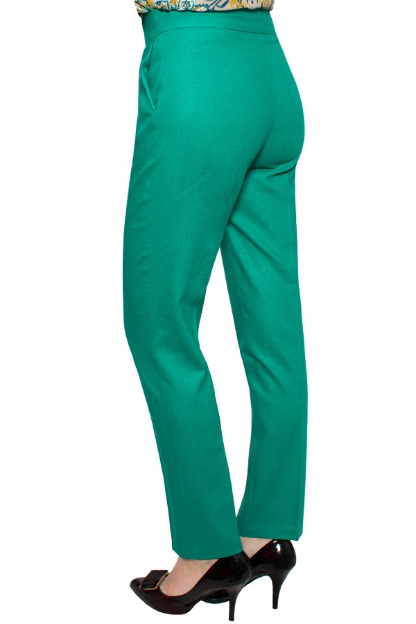 Pantalon casual din in P 130 verde