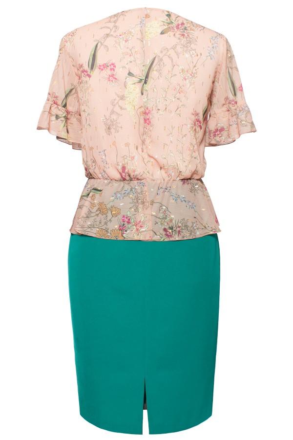Rochie de zi R 341 verde-bej