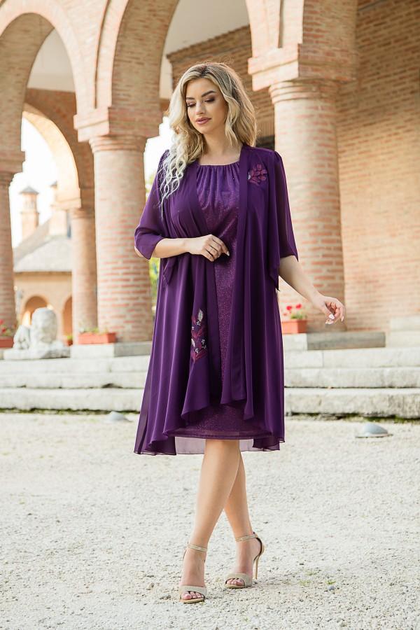 Costum cu rochie 8039 mov