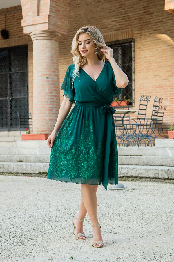 Rochie eleganta din voal R 479 verde