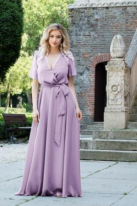 Rochie lunga eleganta din voal R 475 lila