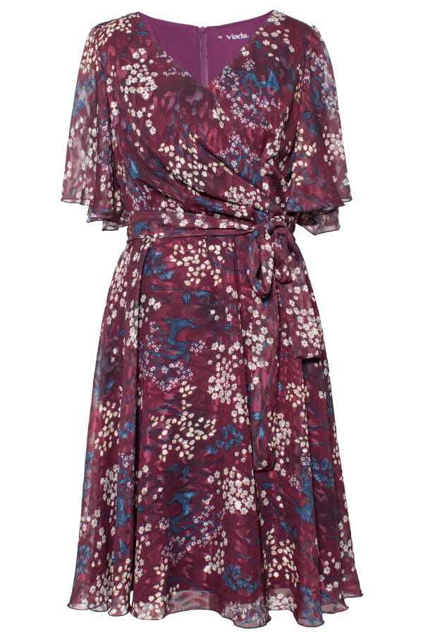Rochie casual din voal R 492 grena floral