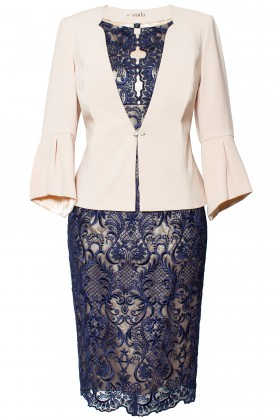 Costum cu rochie 9354 bleumarin
