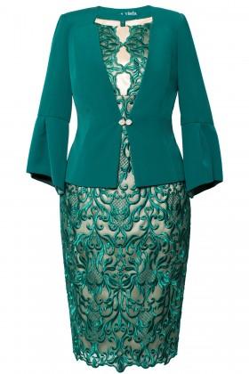 Costum cu rochie 9354 verde smarald