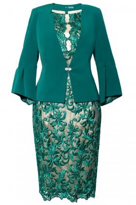 Costum cu rochie 9354 verde pine