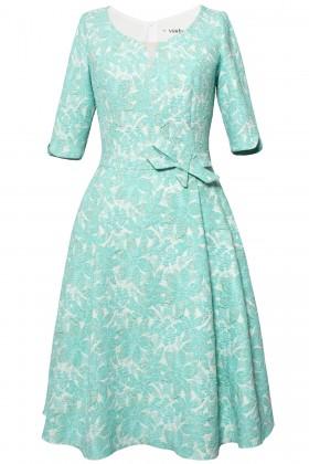 Rochie eleganta R 504 verde-turcoaz