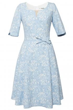 Rochie eleganta R 504 albastru-ivoire