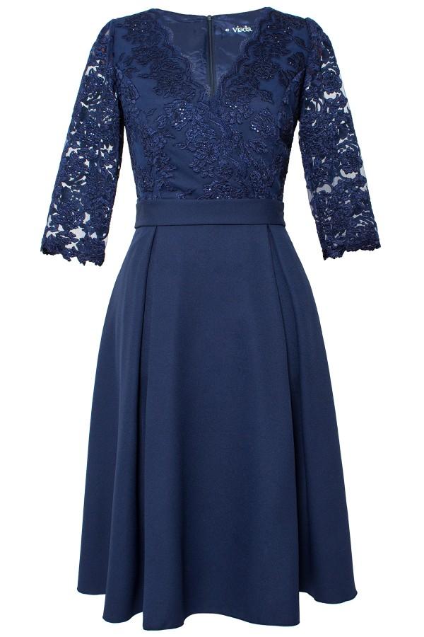 Rochie eleganta R 509 voal bleumarin